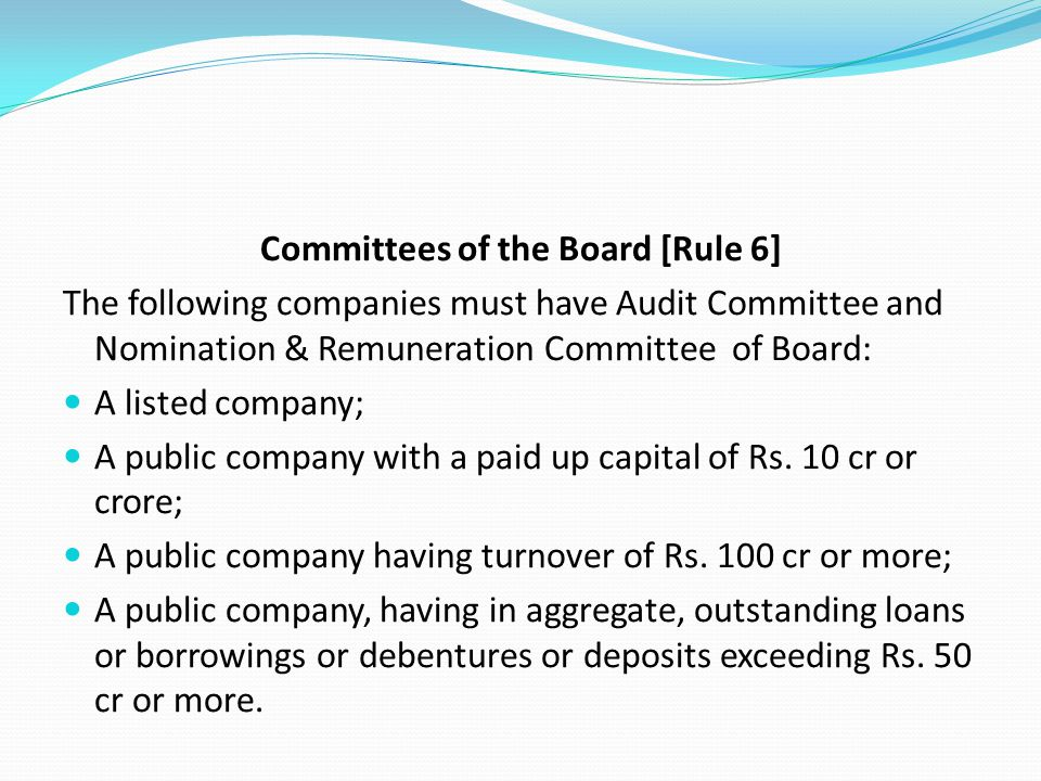 Committees of the Board [Rule 6]